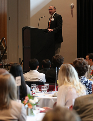 BU President Bashar W. Hanna addresses the crowd at the 2018 Scholarship Luncheon