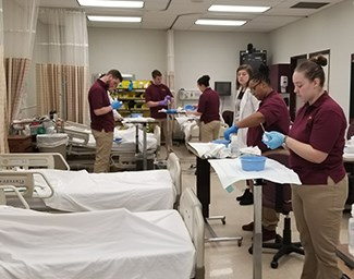 Students in BU Nursing Lab